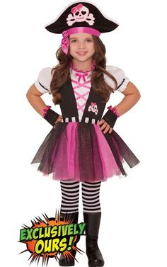 Toddler Girls Dazzling Pirate Costume - Party City