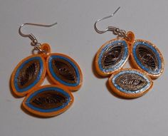 Brown Gold and Turquoise handmade paper earrings Wearable Paper art #Handmade