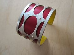 Medium Mod Ovals in Oxblood by Gogo Borgerding: Silver and Aluminum Bracelet available at www.artfulhome.com
