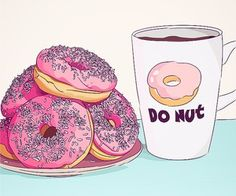Image de donuts, food, and pink Donuts Tumblr, Decoupage, Cake Illustration, Landscape Illustration, Kawaii, Disney Instagram, Tumblr Wallpaper, Food Wallpaper, Cute Cartoon Wallpapers