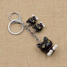 Amazon.com: Cute Cartoon Sitting Cat Keychain Alloy Lobster Clasp Kawaii Black White Keyring 1 Pc: Clothing