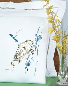 Jack Dempsey Needle Art 1600498 Perle Edge Pillowcase Fish with Perle Edge Finish 20Inch by 30Inch White * Click image to review more details from Amazon.com
