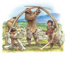 At the end of each day, the group gathered back at camp. Their shelters were made from whatever material was available. Tents were made from skins draped over simple wooden frames. Hunters built huts from mammoth bones. Shelters could also be made by weaving branches together to form screens, which were covered with skins to make huts. The shelters were usually grouped in a circle to protect the group both from wild animals and bad weather. Fire also deterred the animals from approaching.