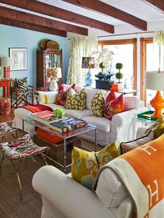 "I love the exuberant use of color and the ""I like it, it goes"" sentiment expressed in this room - Christian Siriano's home"