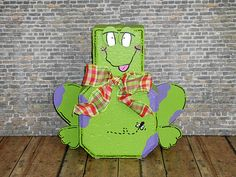 Frog Painted Brick Paver Pal by WoodWinkles Painted Bricks Crafts, Brick Crafts, Painted Pavers, Brick Paving, Concrete Pavers, Wood Craft Patterns, Painting Patterns, Brick Yard, Clay Pot Crafts