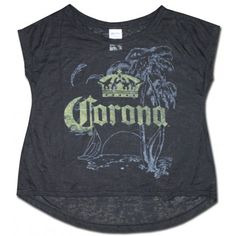 Corona Extra Black Burnout Crop Top Shirt.