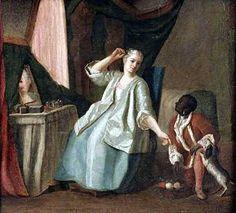 Femme le matin devant sa « toilette » Tableau du début du XVIIIe s., collection particulière