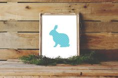 Easter Decor, Blue Bunny Print, Nursery Wall Art, Easter Print, Bunny Silhouette, Instant Download, Home Decor, Nursery Print, Nursery Decor