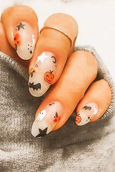 Cute Halloween Nails, Halloween Acrylic Nails, Halloween Nail Designs, Summer Acrylic Nails, Best Acrylic Nails, Fall Nail Designs, Acrylic Nail Designs, Halloween City, Women Halloween