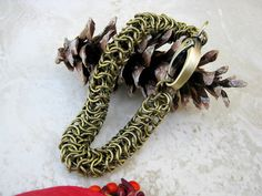 Men's Chain Bracelet Antique Brass Bracelet Chainmaille by Arret