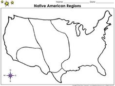Native Americans: Regions Map - Blank - Full Page - Eastern Woodlands, Powhatan, Plains, Lakota, Southwest, and Pueblo - King Virtue's Classroom  Working on your unit on Native Americans? This map is the perfect resource for you! Use it to review Native Americans (Powhatan, Lakota, and Sioux) and their regions (Eastern Woodlands, Plains, and Southwest) with your students.