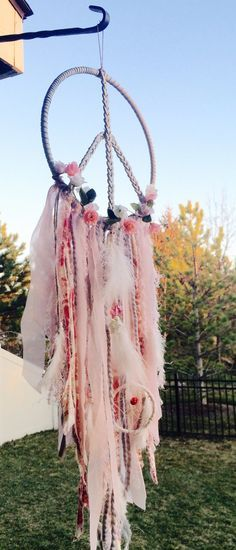 Another beautiful peace sign dream catcher...love the pinks and the little rosebuds....