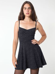 $62, Polka Dot Print Cotton Spandex Underwire Bustier Skater Dress by American Apparel. Sold by American Apparel. Click for more info: http://lookastic.com/women/shop_items/119752/redirect