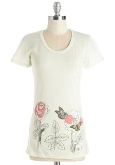 Sketched Serenity Tee. Slip into this cotton-blend top after a productive workday to wind down in whimsical style. #white #modcloth