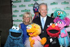 joe and jill biden with muppets