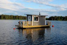 Harmoni Pontoon Houseboat, Houseboat Living, Pontoon Boat, Floating Dock, Floating House, Tiny Cabins, Lake Cabins, Cabana, Trailerable Houseboats