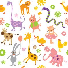 free vector Vector cute handpainted animals