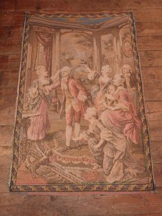 Antique French tapestry wall hanging art decor 1900s Chateau wall tapestry w elegant scene French Chateau boudoir home decor wall tapestries by MyFrenchAntiqueShop on Etsy
