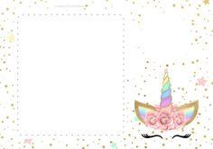 Unicorn with Rainbow: Free Printable Invitations. Editable Birthday Cards, Baptism Invitations Girl, Free Printable Birthday Invitations, Unicorn Invitations, Free Birthday Invitations, Unicorn Birthday Cards, Happy Birthday Signs, Diy Birthday Decorations, Unicorn Printables