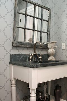 Old window, soapstone counter .