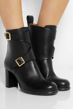 Chloé|Buckled leather ankle boots|NET-A-PORTER.COM