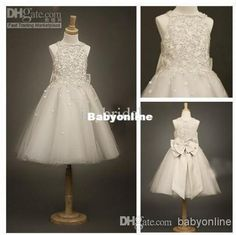Wholesale Evening Gowns - Buy Cheap Cute Ivory Beads Bow Tulle Girl's Formal Occsion Dress Flower Girl Dress Sleeveless Ankle Length Crystals Girls Pageant Dresses FL23, $95.27   DHgate