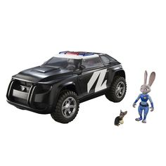 Officer Judy Hopps, one of Zootopia's finest, is ready to start taking names. The 8.5 inch long Judy's Police Cruiser comes with a 3 inch Officer Judy Hopps Figure and 1 inch Law Breaking Mouse Figure. Roll the wheels of the vehicle and the red and blue headlights flash! The top of the police cruiser opens up so Judy can sit inside and patrol the streets of Zootopia. The trunk also transforms into a jail cell so Judy can lock the criminals away! The figures and vehicles are in scale w...