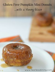 Gluten Free Pumpkin Donuts with Honey Glaze- FearlessDining Coconut oil and Honey as sweeteners with Almond Flour