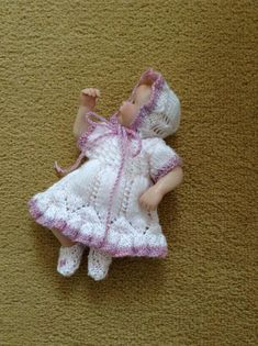 """Hand knitted dolls clothes to fit 6""""/6.5"""""""" Ooak baby doll/clay baby girl"""