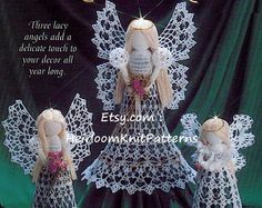Lacy Angels Crochet Pattern Tree Top Angel Christmas Angel Ornaments Tree Trims Decorations Angels Christmas Crochet PDF Pattern - 1071