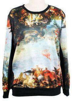 White Long Sleeve Oils Print Loose Sweatshirt US$32.00