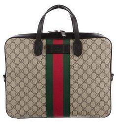 d76ffdc8cc38 Gucci GG Supreme Web Briefcase Briefcase For Men, Leather Briefcase, Web  Canvas, Gucci