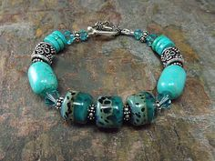 Turquoise Beaded Bracelet Lampwork and Howlite by thepinkmartini, $60.00
