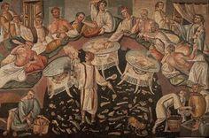 Czy wiecie, że... Rzymianie rozpoczynali obiad od przekąsek, wśród których pierwszą były jajka. Na deser podawali owoce.  Stąd powiedzenie: od jajka do jabłek (owoców).  Główny posiłek stanowiły dania mięsne lub rybne z warzywami. Wszystko to obficie zakrapiano winem z dodatkiem miodu.