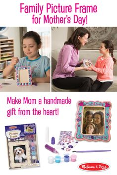It's the classic Mother's Day DIY gift – a homemade picture frame to show off cherished memories. Use this Melissa & Doug kids' craft kit to design and decorate a picture frame to display a favorite family photo or drawing. Kit includes a wooden picture frame, glitter glue, white glue, shimmering stickers, gems, paint, and a paintbrush.