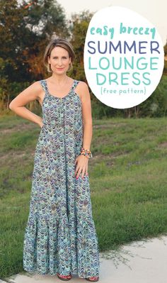 The Easy Breezy Summer Lounge Dress pattern is a free sewing pattern and tutorial will guide you through the steps of how to sew a Maxi Dress. #sewing #sewingtutorial #freedresspattern #freesewingpattern #womensdresspattern #sewingpattern #loungedress #summerdresspattern #scatteredmompatterns
