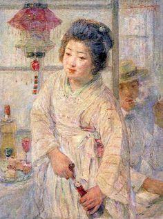 中澤弘光 「カフェの女」 1920(大正9)年 宮崎県立美術館