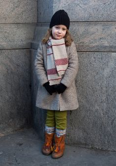 """Lumi - Hel Looks - Street Style from Helsinki """"I like dresses and the colour pink. Now I'm wearing my mother's old shoes."""" / Street style / girl / black hat / lime green leggings / scarf / coat / mittens"""