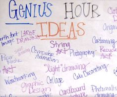 I helped lead my second grade cadet teaching class through genius hour, which is a time for students to explore their passions and think outside the box. I love these ideas and hope to include a genius hour section in my future classroom! High School Classroom, High School Art, Future Classroom, Genious Hour, The Last Lesson, Gifted Education, Special Education, Math Education, Elementary Education