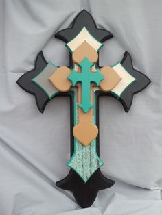 Create or Buy. Would be pretty painted on canvas too. Large Black/Teal/Tan/Cream Stacked Decorative Cross.