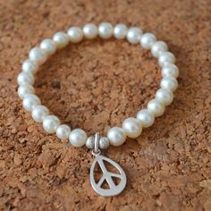 Peace Sign  Pearl Bracelet  Yoga Jewelry  Beaded by AvignaYoga