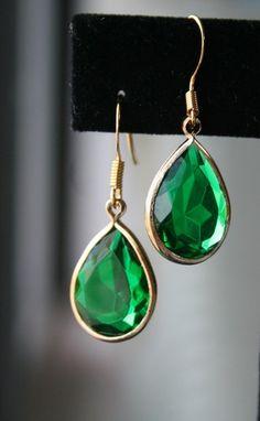 Emerald Green Lucite Teardrop Earrings in Gold by BellaJewelsInc, $18.00