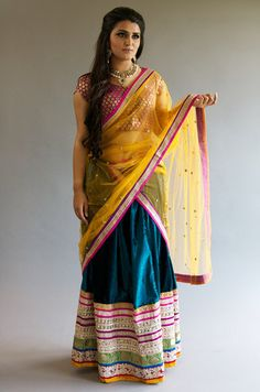 Be ready to slay in these light/medium range lehengas for that Sangeet/Mehendi ceremony or glam it up for any festive occasion. Indian Dresses, Indian Outfits, Shalwar Kameez, Peacock Blue, Pink Yellow, Lehenga, Sari, Velvet, Black And White