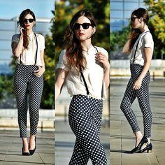polka dot pants + suspenders + white mandarin blouse + low chunk heel // @dressmeSue