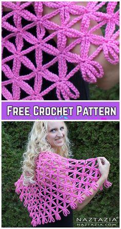 Crochet Flower of Life Chain Shawl Free Crochet Pattern - Video Crochet Puff Flower, Crochet Headband Pattern, Crochet Flower Patterns, Crochet Flowers, Knitting Patterns, Unique Crochet, Crochet Art, Crochet Poncho, Crochet Crafts