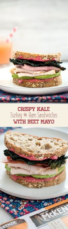 Crispy Kale Turkey and Ham Sandwiches with Beet Mayo -- These sandwiches contain all the components of a perfect sandwich: Great bread, a delicious spread, a little crunch, and {#ad} really good natural deli meat from McKenzie Natural Artisan Deli | wearenotmartha.com #sandwiches #turkey #ham #beets #kale