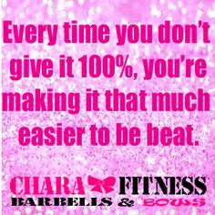 Motivation Monday:    Every time you doubt yourself, skip a workout, not give it your 100%, you're making it that much easier to be beat.    www.charafitness.com