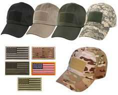 US flag tactical operator hat with Free US Flag Patch. Choose hat color and patch color.