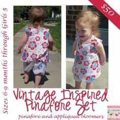 Vintage Inspired Pinafore with Appliqued Bloomers