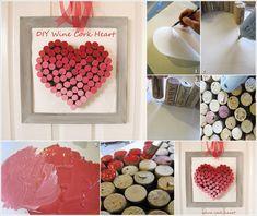 DIY Ombre cork heart art